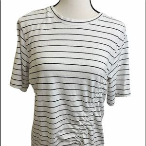 Everleigh cinched details round neck stripes top